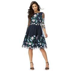 Chi Chi London Navy 'Claire' floral embroidered dress | Debenhams