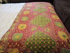 Kantha Sari Throw - Green Daisy [HH-SARI] - $89.00 : Fair Trade ...