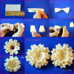 How to Make Special Kanzashi Satin Ribbon Flower tutorial and instruction. Follow us: www.facebook.com/fabartdiy
