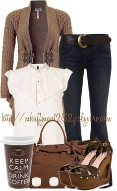 """Mocha Latte With Whipped Cream"" by mhuffman1282 on Polyvore"