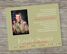 Eagle Scout Court of Honor Invitations - Soaring High khaki design