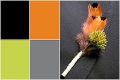 Notable Inspiration: Wedding Inspiration for the Non-Traditional Bride: Etsy Wedding Preview: Wasabi Green, Orange Peel, Smokey Gray and Black Onyx
