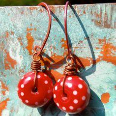 Polka Dot red earrings