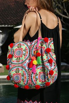 This item is unavailable - Excited to share the latest addition to my shop: SALE! Pompom beach bag/Trendy pompom bag/Yoga bag/Gym bag/Diapers bag * IRAJÁ Beach BAG Source by JavaSpirit Potli Bags, Boho Sandals, Yoga Bag, Boho Bags, Red Bags, Summer Scarves, Beach Tote Bags, Clutch, Cotton Bag