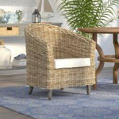 Beachcrest Home Biscayne Park Barrel Chair Rattan Coffee Table, Coffee Table With Storage, White Cushions, Seat Cushions, Steel Furniture, Living Room Furniture, Porch Furniture, Furniture Deals, Furniture Online