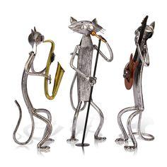 Saxophone Cat Iron Art Home Decoration