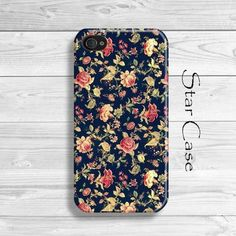 iPhone 4/ 4s and 5 Case - Vintage Emroidery - Retro Flowers Cell Phone Cover - iPhone Hard Case- Floral Old Patter Blue Girly Pretty. $19.99, via Etsy.