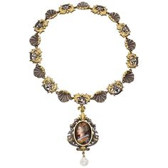 Antique Limoges Enamel Silver Gold Renaissance Revival Necklace   From a unique collection of vintage link necklaces at https://www.1stdibs.com/jewelry/necklaces/link-necklaces/