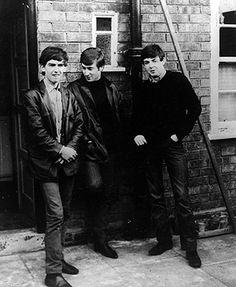 George Harrison, John Lennon and Paul McCartney outside McCartney's Liverpool home in 1961