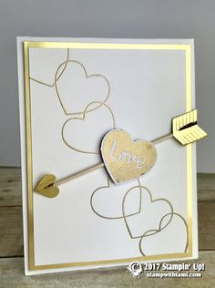 """JANUARY PAPER PUMPKIN I made this quick and easy Valentine's Day gift set from the January 2017 """"Adoring Arrows"""" Paper Pumpkin kit. I always make an alternate project from the kit. This one was super fun to play with. I did some heat embossing (my fav) and made a match"""