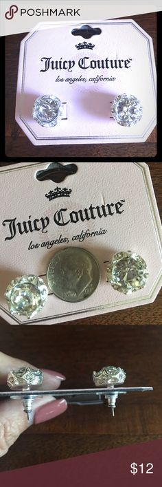 Juicy Couture Large Stud Earrings 1/2 inch Juicy Couture Stud Earrings.  Large crystal is set in a silver colored crown that also has 6 more smaller crystals. Juicy Couture Jewelry Earrings