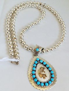 """New Navajo L Begay 12KGF Sterling Silver .925 Turquoise Kokopelli Necklace 24""""L"""