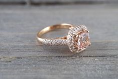 This Rose Gold Morganite Bridal Set Floral Design Wedding Ring Set Unique Morganite Bridal Set Art Nouveau Styled Engagement Rings is just one of the custom, handmade pieces you'll find in our bridal sets shops. Engagement Ring Buying Guide, Dream Engagement Rings, Halo Diamond Engagement Ring, Engagement Ring Settings, Vintage Engagement Rings, Diamond Wedding Bands, Big Diamond Wedding Rings, Engagement Rings Without Diamonds, Engagement Rings Cushion