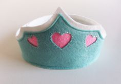 Felt Birthday Crown with Hearts - Light Blue Turquoise with Pink Hearts Girl's Adjustable Wool. $20.00, via Etsy.