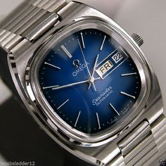 OMEGA SEAMASTER AUTOMATIC DAY&DATE BLUE DIAL AUTHENTIC SWISS VINTAGE MEN'S WATCH #Omega #LuxuryDressStyles