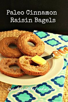"""Gluten free bagels Paleo Plain or Cinnamon Raisin Bagels """" grain free, starch free, nut free, gluten free with low carb and dairy free options :) We love these!"""" """"No Raisins Please"""" Low Carb Recipes, Real Food Recipes, Cooking Recipes, Disney Recipes, Primal Recipes, Disney Food, Bread Recipes, Cinnamon Raisin Bagel, Cinnamon Bagels"""