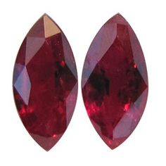 1.12 ct Pair of Marquise Rubies Deep Rich Red -Gold Crane & Co.