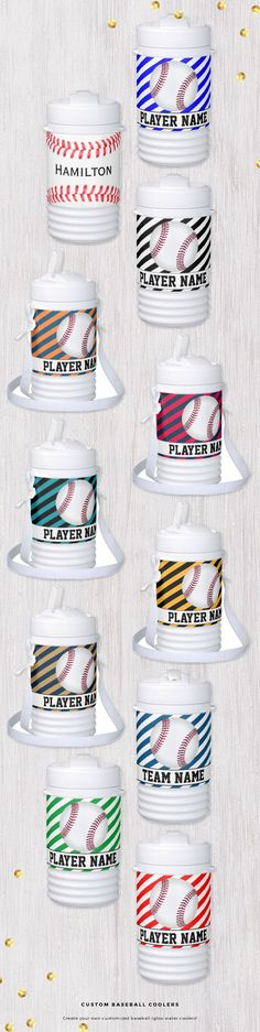 Custom Baseball Igloo Water Coolers. Personalize them with your own team and player name! #baseball #Igloo #water #cooler #baseballteam #baseballmom #sports #zazzle