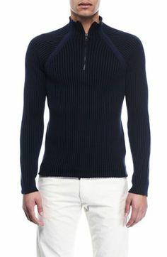 4eebb3b1cd 1 2 Zip Mockneck Sweater - Sweaters - Mens - Armani Exchange Online  Clothing Stores