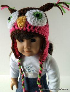 American Girl Crocheted Owl Ear Flap Hat by SweetPeaFashions, $6.00