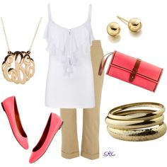 For when you need to dress up a little bit...Pink and Gold, created by coombsie24 on Polyvore