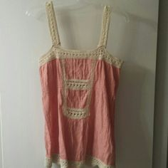 Miss Me sleveless top Beautiful salmon colir.  Would look great with a pair of Miss Me jeans (check our listings).  100% cotton with macrame detail. Make me an offer! Miss Me Tops