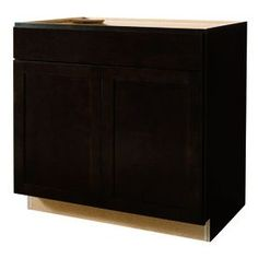 Kitchen Classics Brookton 36-in W x 35-in H x 23.75-in D Finished Espresso Birch Door and Drawer Base Cabinet