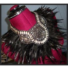 Trashglam Tribal Black Feathered Neck Corset Collar