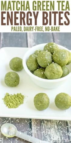 In just 5 minutes, you can whip up a batch of these delicious Matcha Green Tea Energy Bites. This recipe is a perfect healthy pick-me-up for any time of the day. (Gluten-free, dairy-free, grain-free, and Paleo-friendly) tea cookies Healthy Sweets, Healthy Snacks, Dinner Healthy, Protein Snacks, Tea Snacks, Delicious Snacks, Energy Snacks, Energy Bars, Healthy Protein