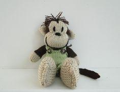 Hand Knitted Monkey Stuffed Animal Boy - Ready to Ship. $34.00, via Etsy.