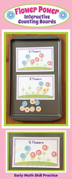 Flower Power Interactive Counting Boards.  Practice early math skills....great for Pre-K or busy bag.   I think I'll also use this to work on addition with A.