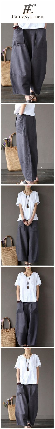 Gray Loose Cotton Linen Casual Ankle Length Pants Women Clothes P1203  P1203Gray