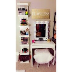 Flawless such a super chic setup from featuring the Shelves Above Desk, Ikea Lack Shelves, Lack Shelf, Ikea Vanity, Vanity Room, Vanity Desk, Ikea Malm Desk, Makeup Furniture, Ikea Dressing Table