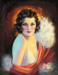 Gorgeous Art Deco Flapper Pin up Girl Print, Glamour Portrait, Feathers, showgirl, by Q. Rolf Armstrong, Art Illustration Vintage, Illustrations, Fine Art Photo, Photo Art, Art Vintage, Vintage Prints, Vintage Ladies, Paintings