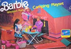 barbie camping 1990 | Barbie Western Fun Camping Playset w Sleeping Bag Tent & More 1990 ...