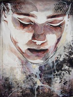 This is Danny O'Connors painting.  The use of line, texture and tone has been used. The lighting has been shown hitting the front of the face. Splashes of colour and blurred blobs have been thrown down the bottom to keep focus on the head, but still give the overall picture an effect.