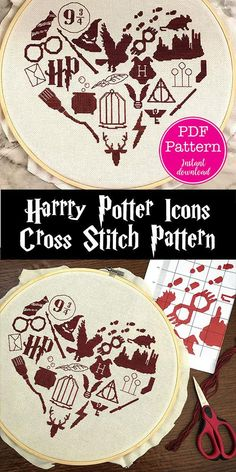 Iconic Harry Potter Symbols Heart Cross Stitch Pattern Featuring hogwarts the sorting hat platform 9 3 4 wands harry s glasses luna lovegood s glasses quiddich goals the golden snitch dobby s sock and SO MUCH MORE all in the silhouette shape of a heart Cross Stitching, Cross Stitch Embroidery, Embroidery Patterns, Hand Embroidery, Sewing Patterns, Needlepoint Patterns, Craft Patterns, Easy Sewing Projects, Sewing Projects For Beginners
