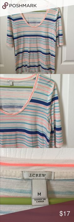 💦J. Crew striped tee 🍊 Lovely tee with shades of orange & blue, I purchased to cheer on the Oklahoma Thunder (their colors). Great condition! Would look cute with white shorts or jean skirt (I have one listed on here as well 😉). I love the sleeve length too. It's a little longer than normal J. Crew tees. J. Crew Tops Tees - Short Sleeve