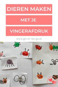 Voor deze makkelijke manier om dieren te tekenen heb je ook niet veel nodig. Namelijk je vingers, verschillende kleurenverf, zwarte stift en fantasie! #vingerafdruk #knutselen #DIY #dierentekenen