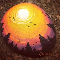 Image result for painted rocks sunsets