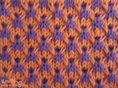 Double Twist Check Knitting Stitch -- -- This stitch pattern works well for use in home décor items such as pillows and multi-color projects Slip Stitch Knitting, Knitting Stiches, Crochet Stitches Patterns, Arm Knitting, Knitting Charts, Knitting Patterns Free, Stitch Patterns, Knit Stitches, Free Pattern