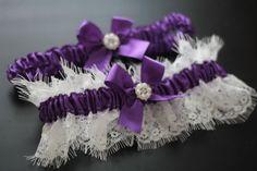 Purple Bridal Garter Set \ Off white Lace Wedding Garter Set \ Purple Toss Garter & Keepsake Garter, Lace Bridal Garters, Purple Prom Garter