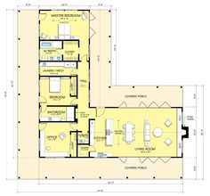 Houseplans.com Country / Farmhouse Main Floor Plan Plan #888-5 - likes: simple layout, lots of windows, every room opens to covered porch