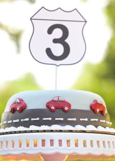 Sensational red car party with table runner looked like a street & painted wooden cars on the runner to add fun to the dessert table, race car cake & more! Race Car Birthday, Race Car Party, Airplane Party, 3rd Birthday, Birthday Ideas, Birthday Stuff, Birthday Cakes, Car Themed Parties, Cars Birthday Parties