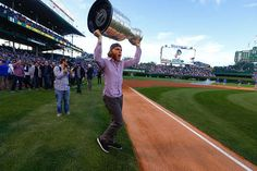 Patrick Kane with the Stanley Cup at Wrigley!