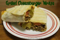 grilled cheeseburger wrap-  added a grated carrot and cut up pickles to meat with mustard and ketchup grilled on george foreman