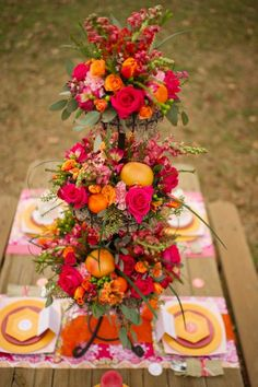 Tangerine, fuschia & pink! Loving this color palette for spring or fall. {Melissa McCrotty}