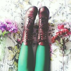 Brown combat boots + green tights
