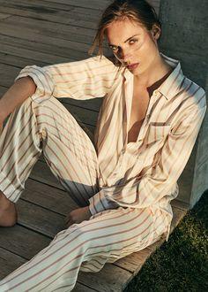 BLUSH STRIPE PRINTED SILK PYJAMA TOP – Asceno London Striped Pyjamas 52c9d10b2