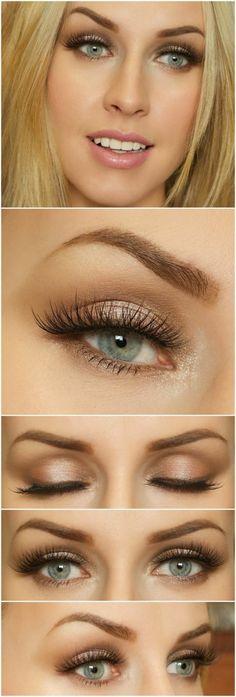 como-pintarse-los-ojos-linda-mujer-con-ojos-azules-maquillaje-tonos-marrones